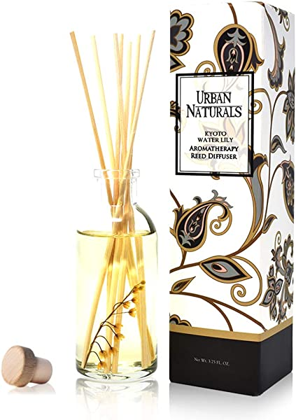 Urban Naturals Kyoto Water Lily Reed Diffuser Sticks Gift Set Waterlily Lily Of The Valley Magnolia Sandalwood And Ozonic Notes Beautiful Decorative With Real Lily Of The Valley Flowers
