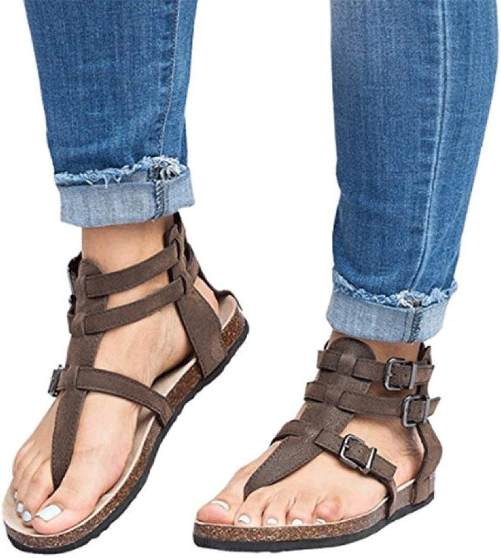 MEIZOKEN Womens Crosscriss Flat Gladiator Sandals Fashion Clip Toe Ankle Strappy Buckle Thong Flip Flops Sandal