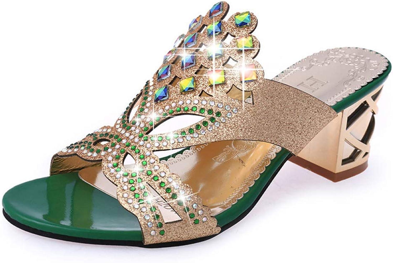 JOYBI Women Chunky Square Heels Slides Sandals Cut-Out Rhinestone Shining Non Slip Summer Slippers Sandal