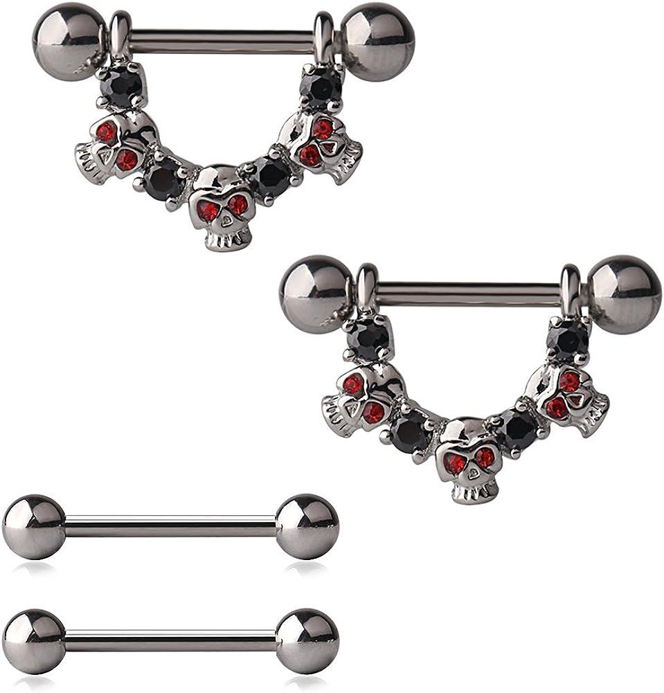 Ruifan 316L Stainless Steel Skulls CZ Gem Nipple Shield Ring & Nipple Barbell Bar Retainer Body Piercing 14G 4PCS