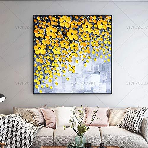 fdgdfgd Schöne Neue Moderne graue weiße gelbe Blumen Wandmalerei handgemalt auf Leinwand Wandbild für Wohnzimmer Dekoration Geschenk
