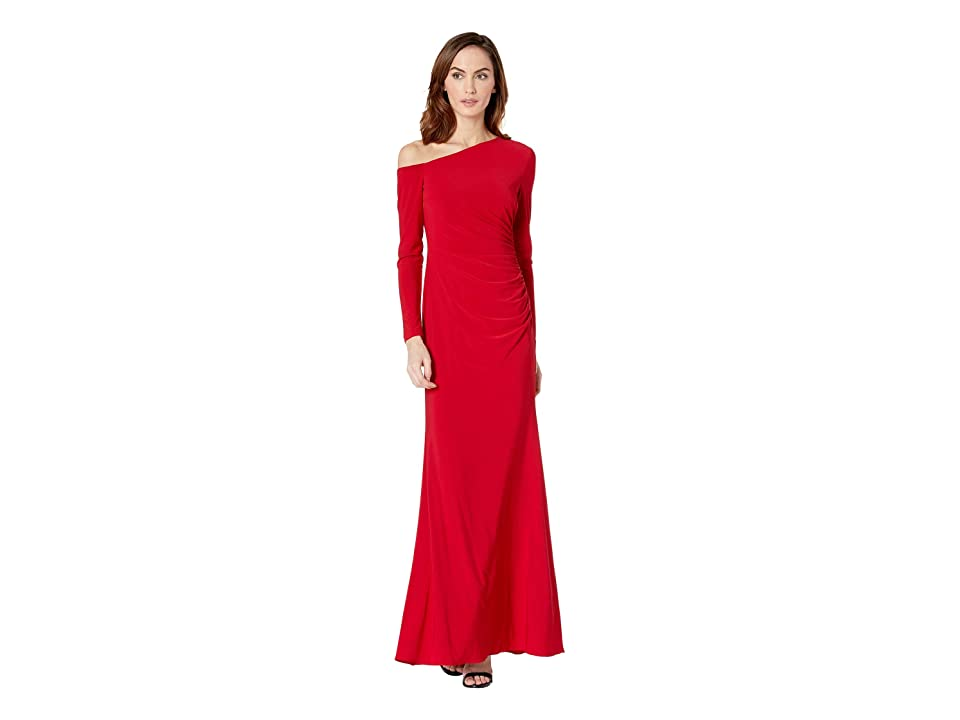 Adrianna Papell Long Jersey Dress w/ One Shoulder Long Sleeves (Cardinal) Women