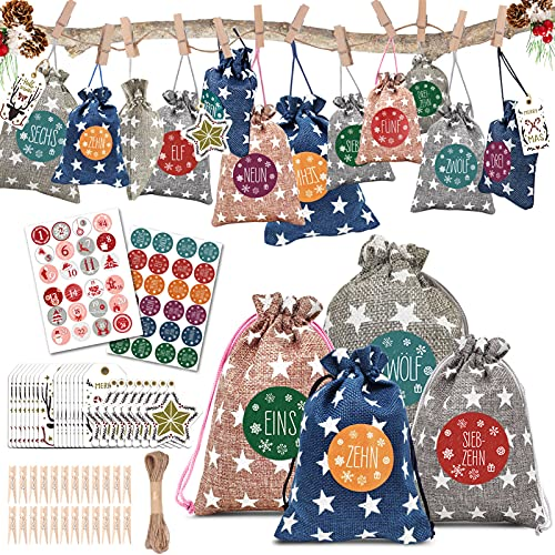 LEWONPO 24 Adventskalender zum Befüllen, Weihnachten Geschenksäckchen mit 1-24 Adventszahlen Aufkleber, Weihnachtskalender zum Selber Befüllen Bastelset, DIY Stoffbeutel Adventskalender 2021 Kinder