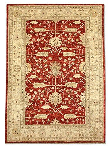 Pak Persian Rugs Handgeknüpfter Ushak Teppich, Sattes Rot/Rostrot, Wolle, Medium, 205 X 285 cm