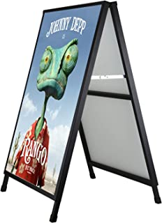 Pilot Whale Double Sided Folding A-Frame Sidewalk Sign Holder 24'' x 36'' Heavy Duty Black Coated Steel Poster Display Board Stand for Outdoor Advertisement