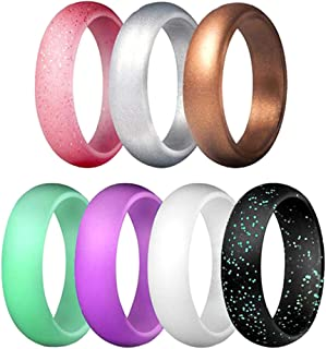 Baosity 7Pcs Silicone Rings Exercises Rubber Ring Wedding Band For Sports Gym Band