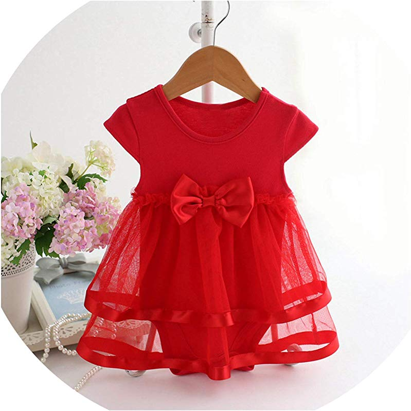 Ivyi Bow Clothes Party Jumpsuit Princess Dress O K Sleeveless Cute Dress 1903 Red 18M