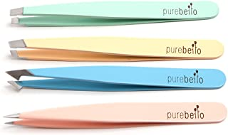 Four Piece Tweezer Set| Tweezers for Men and Women| Best For Plucking And Hair Removal Tweezer With Travel Case By Purebello