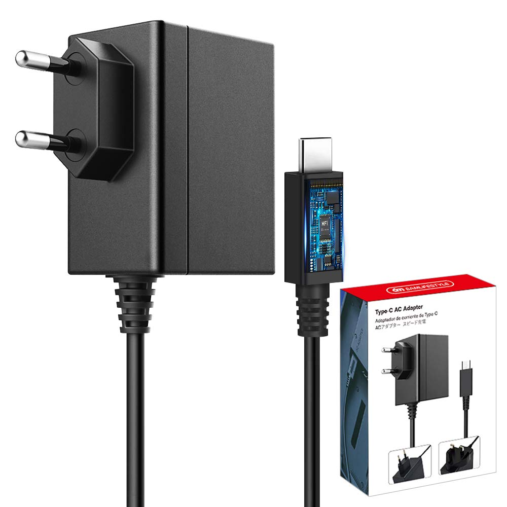 Cargador para Nintendo Switch 5FT 15V 2.6A PD Carga Rápida Admite TV Dock, Adaptador de Alimentación Compatible con Nintendo Switch & Switch Lite Cargador con Cable USB Tipo C para Switch: Amazon.es: