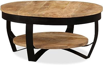 Tidyard Coffee Table 65 cm Solid Rough Mango Wood 65 x 32 cm (Diameter x H) Brown