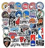 ZJJHX Etiqueta engomada de la NBA Baloncesto Equipo Logotipo Signo Símbolo Bola Emblema Bola Estrella Maleta Cuaderno Etiqueta Impermeable 37 Hojas