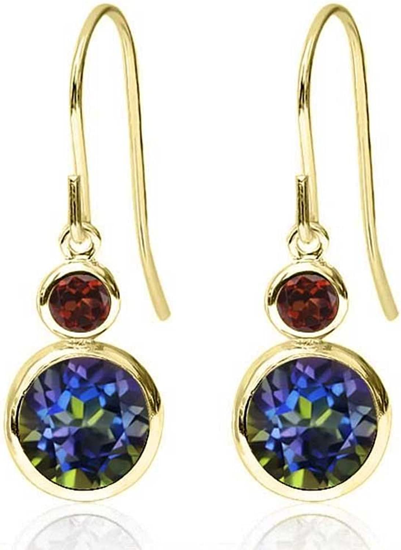 1.84 Ct Round bluee Mystic Topaz Red Garnet 14K Yellow gold Earrings
