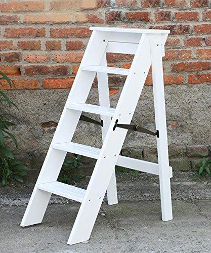 Escalera plegable de madera maciza Inicio Multi-función Cinco capas Escalera de flores escalera Woody Subir la escalera ( Color : 2# , Tamaño : 38*50*88cm )
