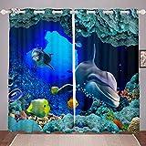 Tenda per finestra con delfini per bambini, motivo oceanico marino, per bambini, per bambini, mare, sotterraneo, creature, tende hawaiane, decorazione per la stanza W66*L90