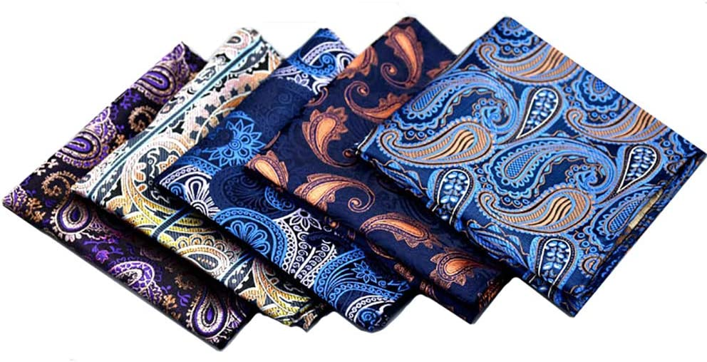 He-art Paisley Pocket Squares for Men Tree of Life Pattern 10x10 Inch Assorted Colors Men's Suits Handkerchief Professional Suits Decorations for Party Wedding Gift