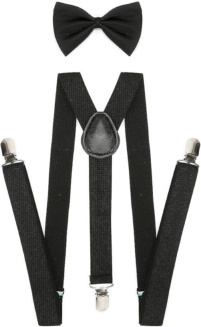 Suspenders Bow tie Sets for Men Adjustable Elastic Y Back Style Suspender for Pants Metal Clips