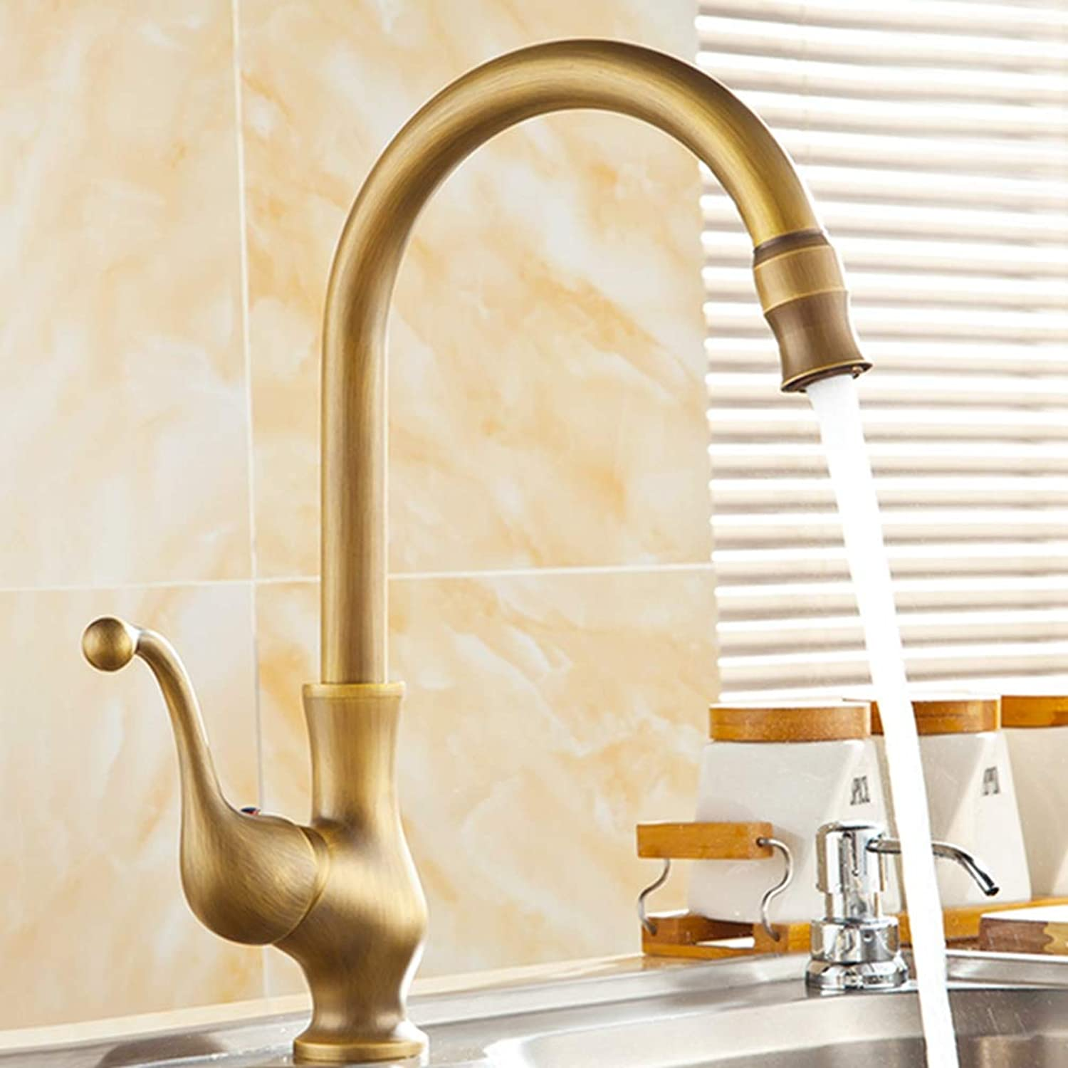FZHLR Kitchen Sink Faucet Antique Brass 360 Degree redation Single Handle Mixer Tap Kitchen Faucet Deck Mounted Hot and Cold Water Mixer Tap,Antique Brass A