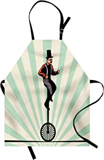Ambesonne Retro Apron, Vintage Inspired Circus Man on Monowheel Bike with Sun Rays, Unisex Kitchen Bib Apron with Adjustable Neck for Cooking Baking Gardening, Eggshell Pale Green and Dark Grey