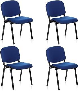 bfd843623 hjh OFFICE 704510 silla de confidente XT 600 lote de 4 tejido negro / azul,