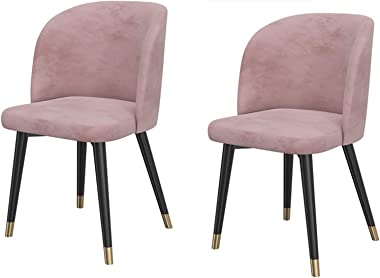 Modern Velvet Dining Chair with Metal Legs Velvet Seat Backrests Kitchen Living Room Lounge Counter Chairs Chairs (Color : Pi