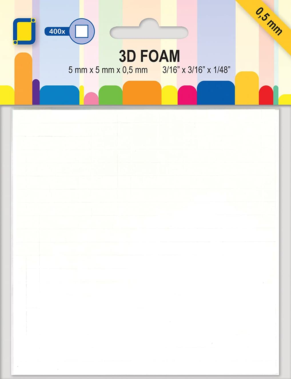 JEJE 3D Foam Dots - 0.5 mm, Synthetic Material, White, 14.8 x 11.1 x 0.1 cm