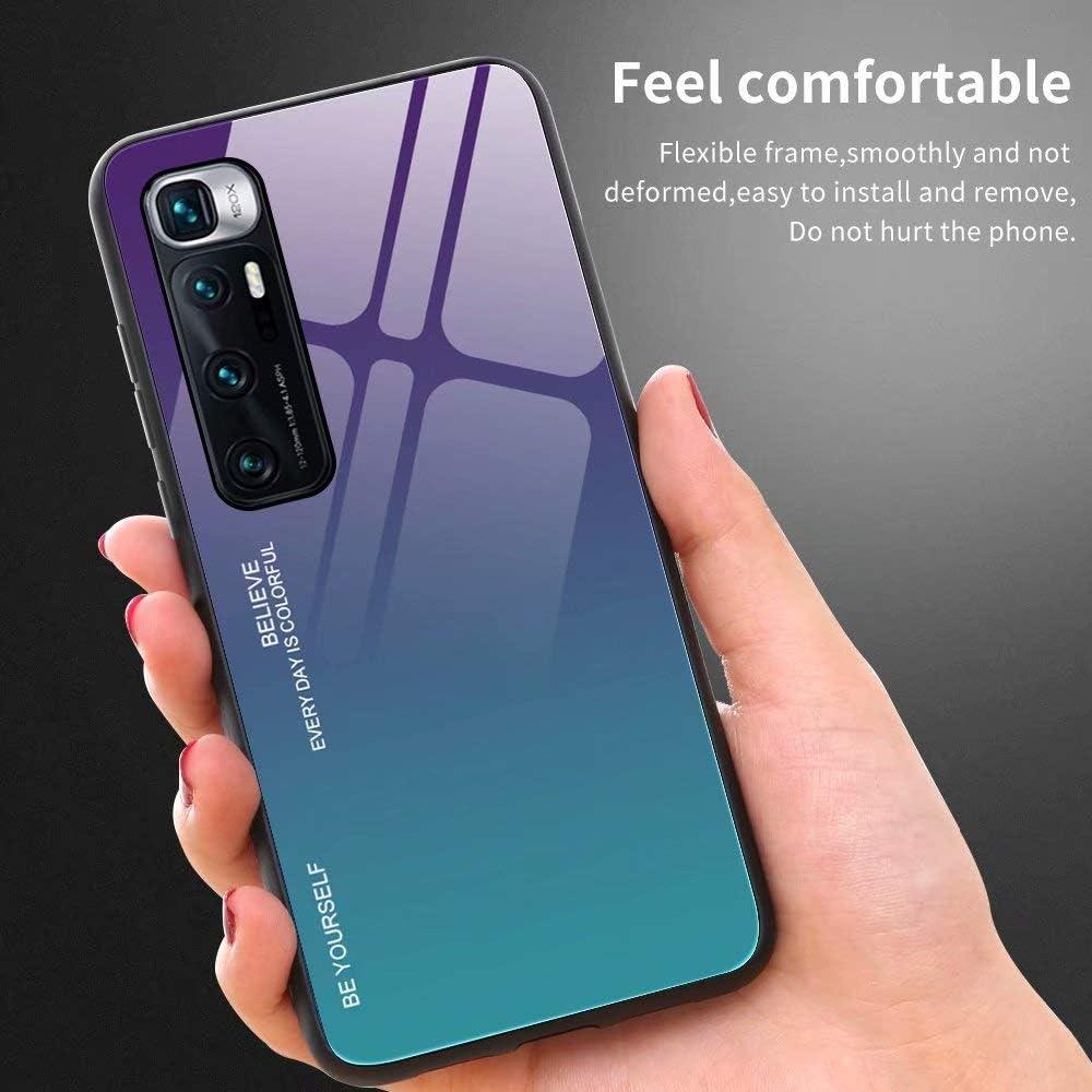 1 FANFO/® D/égrad/é de Couleur Coque pour Xiaomi Mi 10T Pro 5G Verre Tremp/é Ultime avec Encadrer en TPU Real Glass Silicone Souple Anti-Rayures Antichoc Case