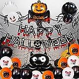 SHLMO Decorativo Halloween Set Globos de fiesta de Halloween Combinación de Amazon Redondo Látex Película de Aluminio Globos de Halloween