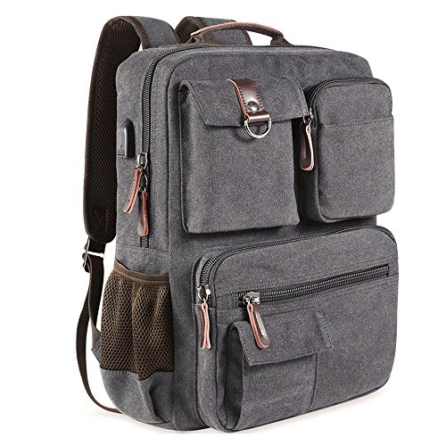 School Backpack Vintage Canvas Laptop Backpacks Men Women Rucksack Bookbags, Gray