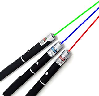 3 Pack Green Red Blue Laser Pointer Rifle Scope Sight Laser Pen, Remote Laser Pointer Travel Outdoor Flashlight, LED Inter...