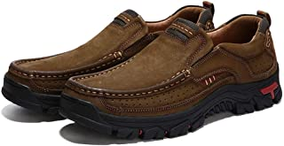 Asifn Men's Leather Comfortable Outdoor Hiking Casual Shoes Breathable Fashionable Wearable Driving Luxury Slip On Leather Shoes Business Office Outdoor Loafers