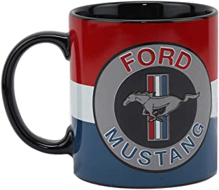 Open Road Brands Ford Red White and Blue Mustang Ceramic 16 OZ. Mug - an Officially Licensed Product Great Addition to Add What You Love to Your Home/Garage Decor
