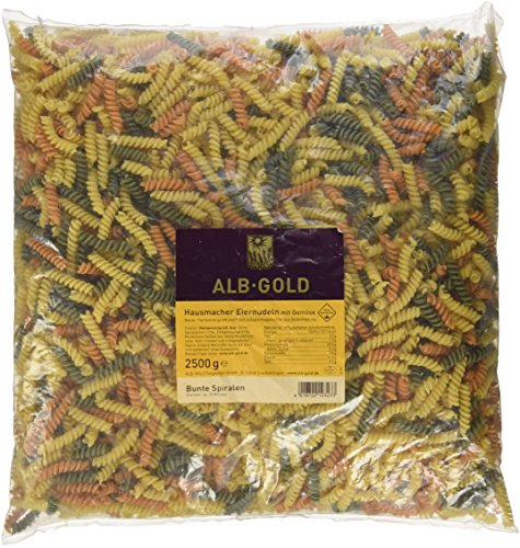 AlbGold Bunte Nudeln (Fusilli), 1er Pack (1 x 2.5 kg Packung)