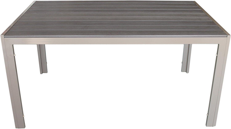 Multistore 2002 Gartentisch, Polywood Tischplatte Mokka, Aluminiumrahmen Champagner, 150x90cm - Terrassentisch Terrassenmbel Gartenmbel Esszimmertisch Esstisch