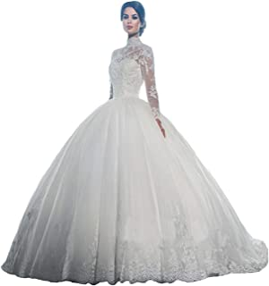 High Neck Long Sleeves Wedding Dress Lace Ball Gown Wedding Gowns Bridal Dresses