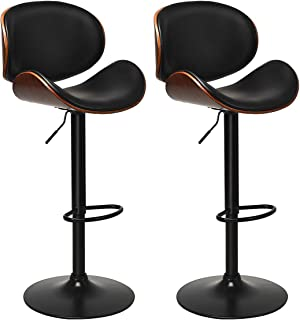 COSTWAY Bar Stools Set of 2, Adjustable Swivel Barstools with Back, 360 Degree Seat, PU Leather and Curved Footrest, Dinin...