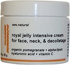 GOLDEN SUNDROPS, ROYAL JELLY, INTENSIVE, CREAM, FOR, FACE, NECK, AND, DECOLLETAGE, (2.25 OZ), RICH, ANTI, WRINKLE, TREATMENT, INTENSIVE, ANTIAGING, FACIAL, LIFT, SKIN, CARE, FORMULA, IN, CONCENTRATED, AND, POWERFUL, BLENDS, OF, ORGANIC, POMEGRANATE, ALPHA-LIPOIC ACID, HYALURONIC ACID, +, VITAMIN C, AND OTHER ACTIVE INGREDIENTS, MOISTURIZES, REJUVENATES, SKIN, 2.25 OZ / 63 G, MADE IN THE USA.