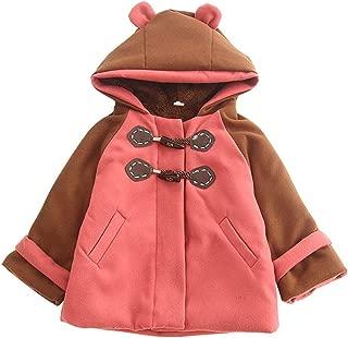 Xifamniy Children Infant Girls Autumn&Winter Woolen Coat Contrast Color Hooded Thicken Jacket