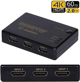 Dorros HDMI セレクター HDMI 切り替え 3入力1出力 HDCP 2.2 4K@60HZ 18.5Gbps 3D Ultra HDサポート PS3 PS4 PS4pro NintendSwitch Xbox Fire TV Apple TV Roku Blu-rayなど対応 HDMI 切替器 分配器 HDMI スイッチ 自動手動切り替え リモコン付き USB給電ケーブル付き 【1年安心保障付き】