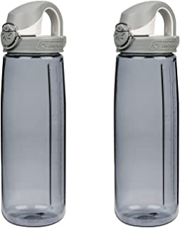 Nalgene Tritan On The Fly Water Bottle, Smoke W/ White Cap Set of 2, 24Oz