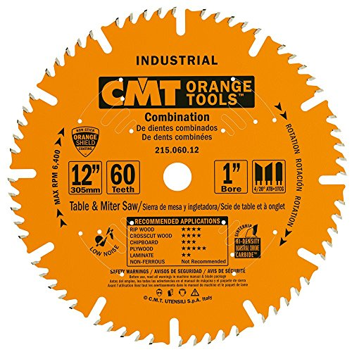 CMT 215.060.12 Industrial Combination Saw Blade, 12-Inch x 60 Teeth 4ATB+1TCG Grind with 1-Inch Bore, PTFE Coating