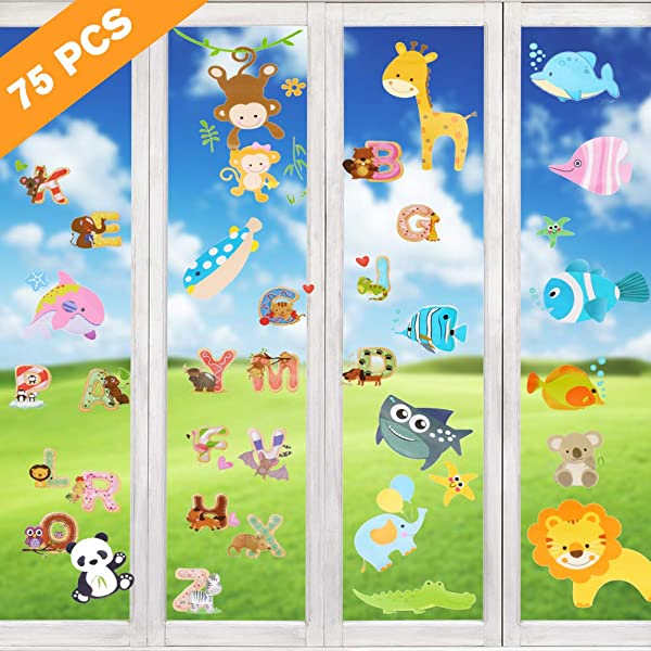 AriTan Flexible Reusable No Glue Double Sided Window Clings Stickers Decorations For Kids Boys And Girls Jungle Forest Wildlife Monkeys Lions ABC Alphabet Letters Underwater Sea Ocean Life Fish Stick