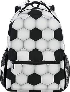 Ahomy Mochila Escolar para Adolescentes y niñas, Color Blanco y Negro con Textura de fútbol