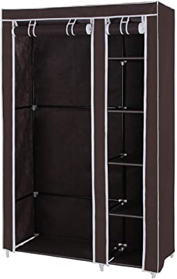 Styleys Collapsible Clothes Storage Wardrobe Cupboard Closet with Shelves Organizer Hanging Rail Rack Foldable Portable Canvas Drawers (Brown)