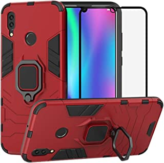 BestAlice for Huawei P Smart 2019 / Honor 10 Lite case, Hybrid Heavy Duty Protection Shockproof Defender Kickstand Armor Case Cover Tempered Glass Screen Protector,Red