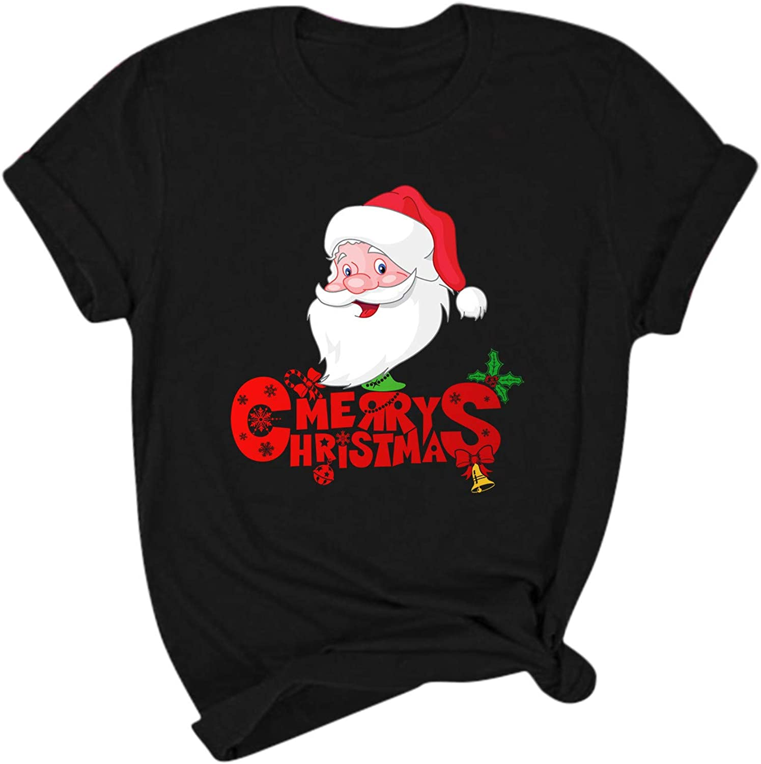 Benficial Christmas Womens Top Casual Round Neck Christmas Print Short Sleeve T-Shirt Plus Size Tops for Women