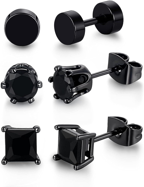 3 Pairs Black Stud Earrings for Men Women Gold Plated Hypoallergenic CZ Earrings Set