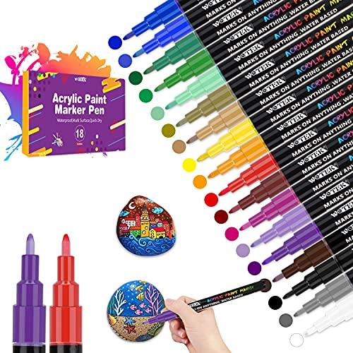 18 Farbige Steine Bemalen Acrylstifte für Steine Permanent Marker Stifte Acrylstifte für Leinwand wasserfester stift -Marker für Design Schule Manga Kunstler/DIY Fotoalben/Hochzeit/Papier (0.7mm)