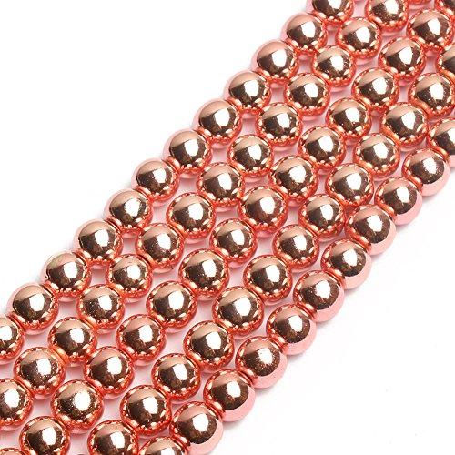 Natural Smooth Metallic Hematite Round Gemstone Loose Beads Rose Gold Hematite Beads 15 inch 4mm