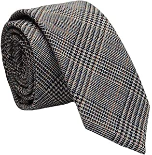 FON ALLEY 2.4'' Men's Casual Handmade Plaid Striped Cashmere Wool Slim Necktie (Light Grey 1)