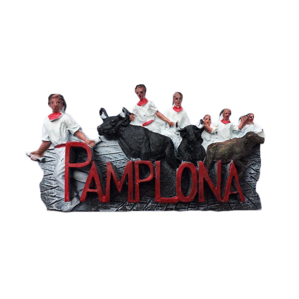Imán 3D para nevera de Pamplona España estilo San Fermín, recuerdo de viaje, decoración del hogar y la cocina, imán para nevera de España: Amazon.es: Hogar